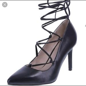 Black leather lace up pointed toe heels